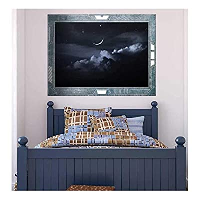 Science Fiction ViewPort Decal The Moon Hovering Over a Bed of Clouds Wall Mural, Classic Design, Grand Style
