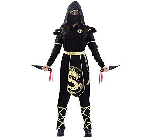 EUROCARNAVALES Disfraz de Ninja Negro y Dorado para Mujer ...