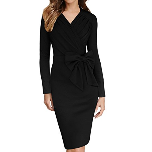 Sue & Joe - Vestido envolvente a media pierna para mujer de negocios, con escote en forma de V, manga larga, lazada, fruncido negro