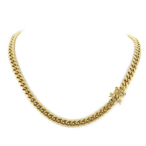 Men's Miami Cuban Link Chain 14k 18k Yellow Gold White Or Rose Gold Plated Stainless Steel 8-18mm Thick (18k Yellow Gold 8mm, 22)