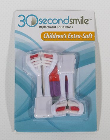 30 Second Smile Children's Battery Powered Toothbrush with Kids Extra Soft Multi-Surface Dual Brush Head, Tongue Scraper, 2 AA Batteries and a Travel Pouch by 30 Second Smile (Image #2)