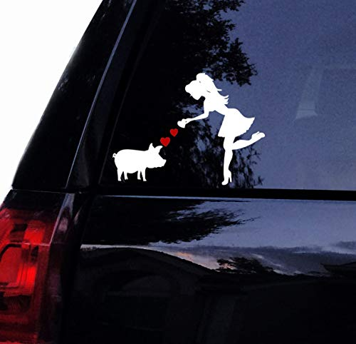 (Tshirt Rocket Pig Decal - Sassy Lady Loves her Piggy Vinyl Car Decal, Window, Wall, Laptop, Yeti Decal Sticker (10 iniches) )