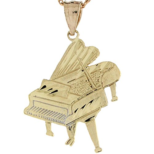 10k Real Yellow Gold Classical Unique Piano Charm Pendant