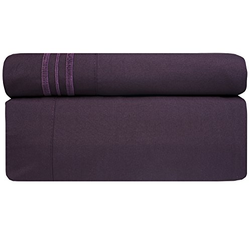 Sweet Home Collection 1800 Thread Count Bed Sheet Set Egyptian Quality Brushed Microfiber 4 Piece Deep Pocket, RV Short Queen, Purple by Sweet Home Collection (Image #1)