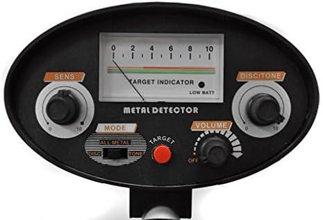 DURAMAXX Cercametalli Metal Detector Nero Bobina Impermeabile di 16,5 cm, Ricerca Fino a 1,5 m, differenziazione Metalli preziosi e Ferrosi, Segnale Acustico, indicatore Livello Batteria