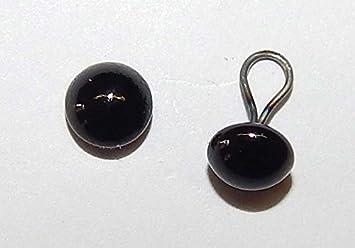 5 Paar schwarze Glasaugen mit Öse 3 mm
