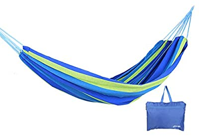 Yodo Upgraded Single Cotton Camping Hammock with Carabiner for Bottle - Pack in a Zipped Storage Bag - Portable for Patio, Yard, Lawn, Garden, 265-Pound Capacity, Multi