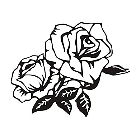 HLLCY Rosa Negra Etiqueta de la Pared Vinilo Tatuajes de Pared ...