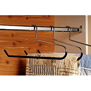 Heavy Duty Metal Quilt Hanger, Heavy Guage Steel Hanger with Black Vinyl Non-Slip Coating for Pants Linens or Textiles (Box of 8) by The Great American Hanger Company