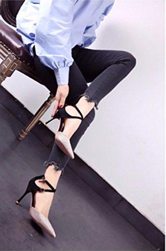 38 Solo Moda Hebilla 39 Sandalias zapato elegante Hueca Sexy 9cm de Ajunr Oro Cruz Sharp fino Transpirable talones boda Talón Zapatos RdC6qwa