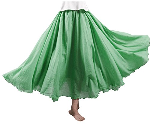 Bande Bohme lastique Maxi Style Taille Vert OMSLIFE de Jupe Femmes Long Coton 2018 Lin qWRvaFU