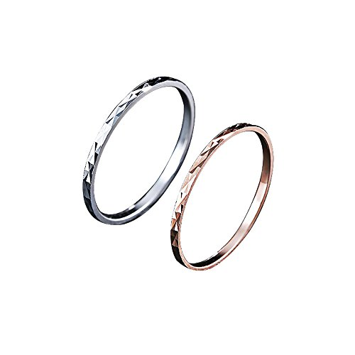 BALMORA 100% Real 925 Sterling Silver Jewelry Midi Finger Knuckle Rings for Women Lady Girl 2 Pieces (1 Piece Silver + 1 Piece Rose gold) (3)