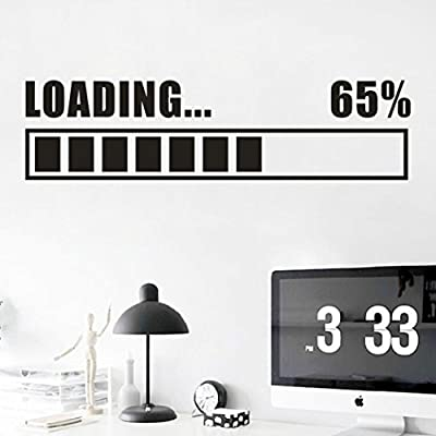 Yezijin Children's Room Vinyl Wall Decal Game Zone Loading Quotes Gamer Computer Game Play Room Wall
