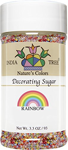 Sparkling Natural - India Tree Nature's Colors Rainbow Mix Decorating Sugar, 3.3 Ounce
