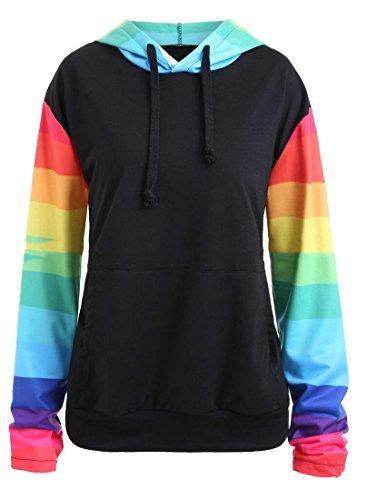 (Jaycargogo Women's Autumn Rainbow Color Stripe Raglan Sleeve Hoodies Sweatshirts 1 XXXL)