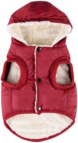 [スポンサー プロダクト]ZEEY フリース裏地付き暖かい 犬のジャケット 冬暖かい厚手のコート 使いやすいスナップオンボタンを備えた小型/中型/大型犬 (M, Red)