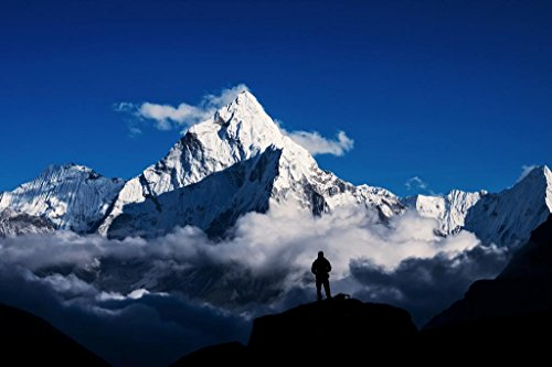 Man Hiking Silhouette in Mount Everest Himalayan Mountains Photo Mural Giant Poster 54x36 inch