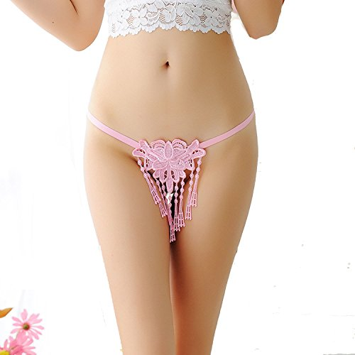 (Hyunong Sexy Fringe Pearl Open File Embroidery Underwear Ladies t Pants)