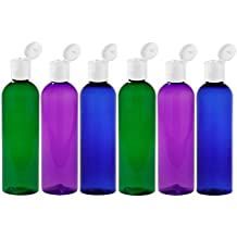 MoYo Natural Labs 4 oz Travel Bottles, Empty Travel Containers with Flip Caps, BPA Free PET Plastic Squeezable Toiletry/Cosmetic Bottles (Neck 20-410) (Pack of 6, Psychedelic)