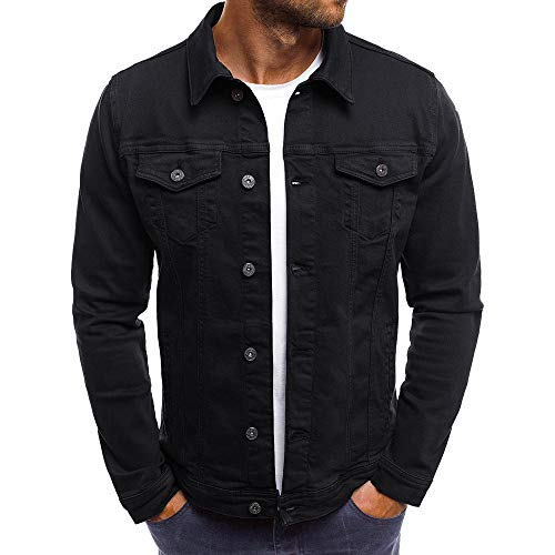 (iLXHD Men's Autumn Winter Button Solid Color Vintage Denim Jacket Tops Blouse Coat Outwear (Black,XL))
