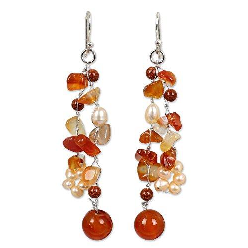 - NOVICA Carnelian Cream Cultured Freshwater Pearl .925 Silver Glass Beaded Earrings