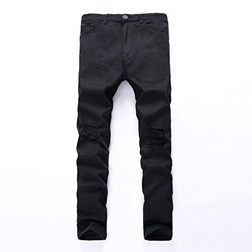 (Leward Men's Slim Fit Black Stretch Destroyed Ripped Skinny Denim Jeans (32, Black))