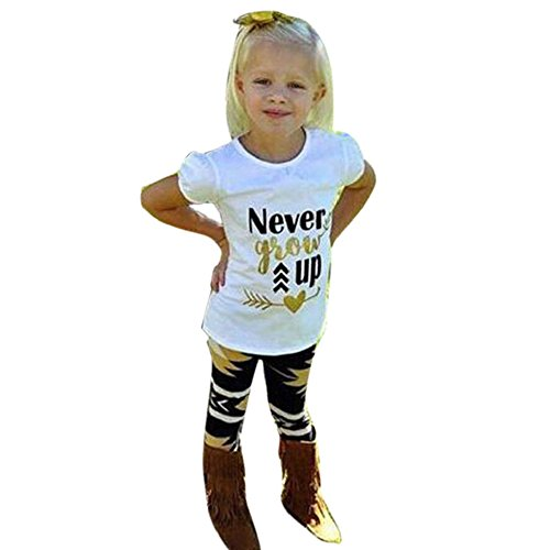Price comparison product image LUNIWEI Girls 2PCS / Set Outfits Never Grow Up T-shirt + Trousers