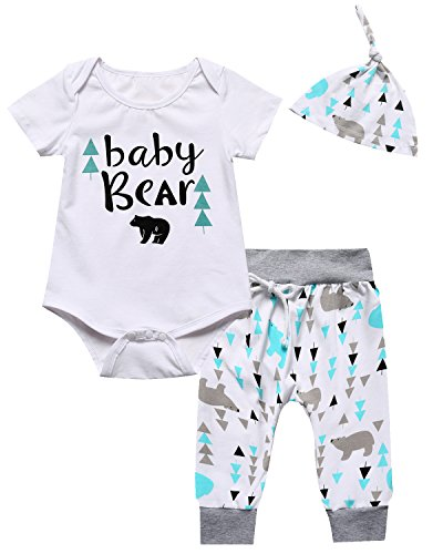 Baby Boys Girls Outfit Set Cute Deer Long Sleeve Romper (0-3 Months) (Home Baby Outfit Boy Going)
