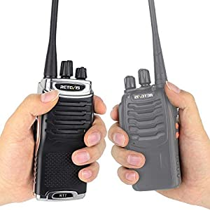 Retevis RT7 Two Way Radios VOX 16 CH 2 Way Radio Rechargeable FM Radio Walkie Talkies with Earpiece(Silver Black Border,10 Pack)