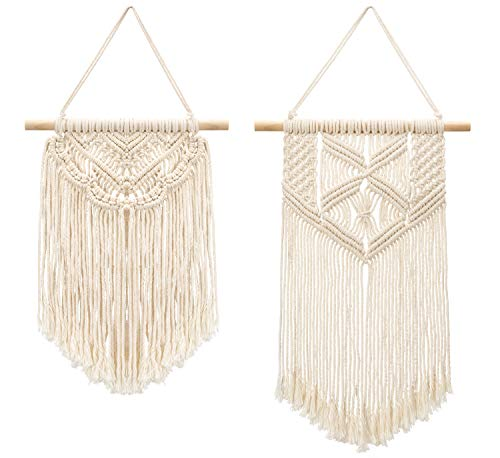 Mkono 2 Pcs Macrame Wall Hanging Art Woven Wall Decor Boho Chic Home Decoration for Apartment Bedroom Living Room… - This cute macrame wall hanging is created to fit in any space and budget. Beautiful wall art creates a sense of harmony and comfort for your room. It is great for a bedroom, dorm room, living area, baby nursery, workspace or anywhere where you'd like to bring some texture and interest to your walls. Mkono Macrame Wall Hanging is made of 100% Pure cotton cord, without artificial ingredients or chemicals. Sturdy, durable and premium quality. This cute and chunky macrame can make a big difference in any space. Its symmetrical design will fit in any interior. This woolen hanging makes a perfect statement piece for hanging over the head of a bed or baby crib, over a couch, fireplace mantel or desk, or near a window for adding a cozy touch to your living or work space. Great decoration for party, wedding, or as photo props. - living-room-decor, living-room, home-decor - 41ZpUBNhIPL -