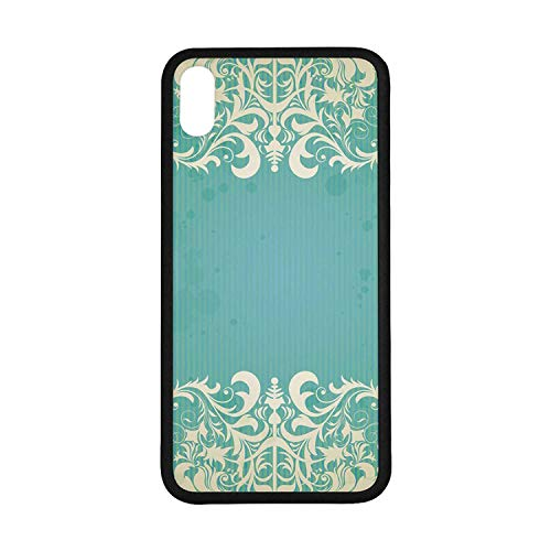 (Vintage Rubber Phone Case,Old Fashioned Frame with Grungy Ancient Floral Curlicues Baroque Revival Motifs Decorative Compatible with iPhone Xs Max)