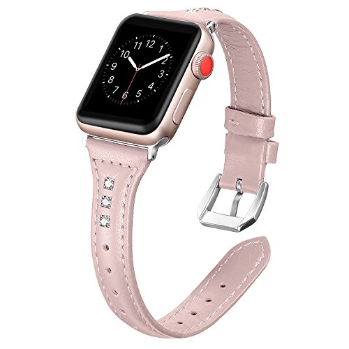 Leather Watch Pink (Secbolt Leather Compatible Apple Watch Band 42mm 44mm Pink with Rhinestone Slim Replacement Retro Wristband Sport Strap for Iwatch Nike+, Series 4 3 2 1, Edition Stainless Steel Buckle)