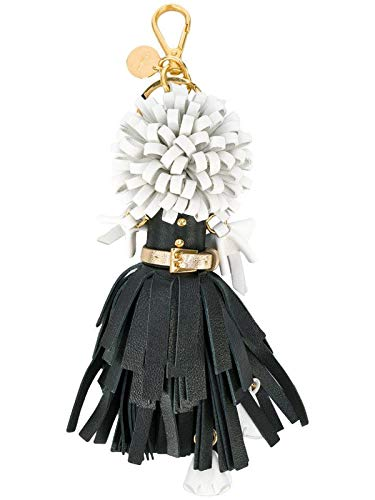 (Prada Trick in Pelle Nero Black Dress Wendy Doll Leather Keychain 1TL170)