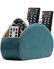 Homeze Leather Remote Control Holder and Caddy Organizer Stand for TV Remote and Table Top