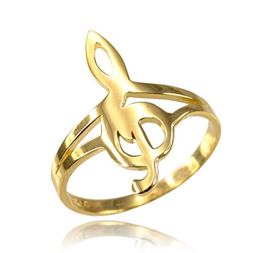 - 10k Yellow Gold Treble G-Clef Music Note Ring (Size 11.75)
