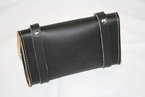 FahrradTasche hinten Sattel für Radfahren in simil Leder. Made in Italy. Farbe: Schwarz