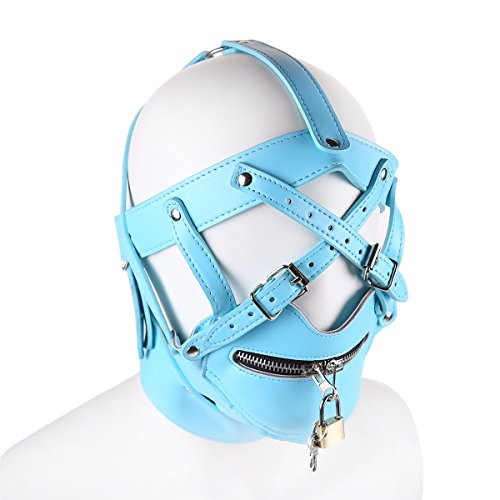 [FeiGu Blue Leather Bondage Gimp Mask Head Hood T5] (The Gimp Costume)
