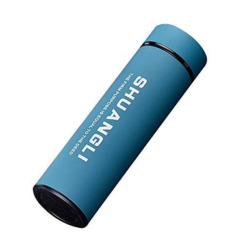 Kaimao 480 ml Stainless Steel Vacuum Insulated Flask Cup with Strainer BPA-Free Coffee Travel Mug Rustproof and Leak-Free Portable Water Bottle---Blue