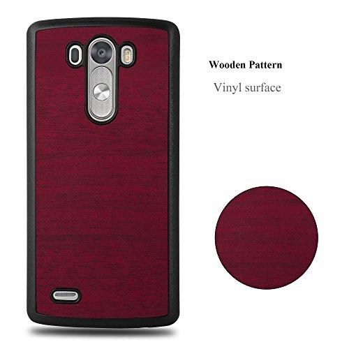 Cadorabo �?Hard Cover Protección para LG G3 en Diseño Woody �?Case Cover Funda Protectora Carcasa Dura Hard Case de Estilo Madera en WOODY-ROJO WOODY-ROJO