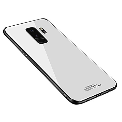 Ldea Galaxy S9 Plus Case, Silicone Shockproof Tempered Glass Back Cover Shell (White)