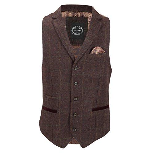 maroon collar Traje Para Brown Hombre Xposed Waistcoat FqpvI8Iw