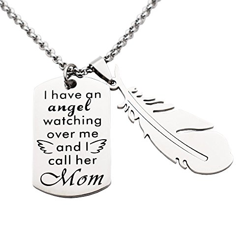 N.egret Special Necklace Special with Feathers Pendant Inspirational Jewelry Quote Gift for Girl Teen Birthday Christmas (Mom) Angel Quotes Christmas