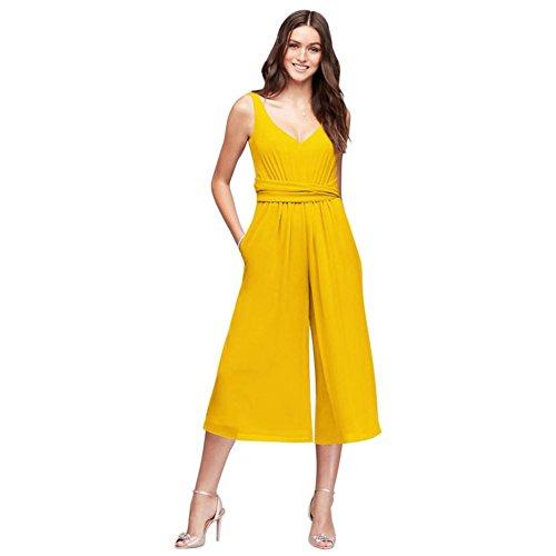 Chiffon Bridal Dress sunflower Crinkle Bridesmaid David's Back Jumpsuit F19741 Bridesmaid Style Tie dqYRHU
