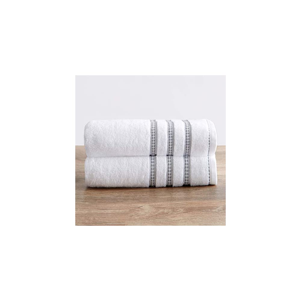 100% Cotton Plush Bath Towel Set (30 x 52 inches) Absorbent Floral Jacquard Luxury Towels. Roselyn Collection (Set of 2…