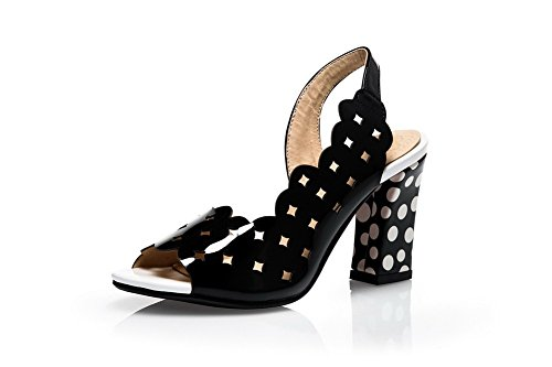 Amoonyfashion Open Toe Pull On Pu Tacchi Alti Sandali Neri