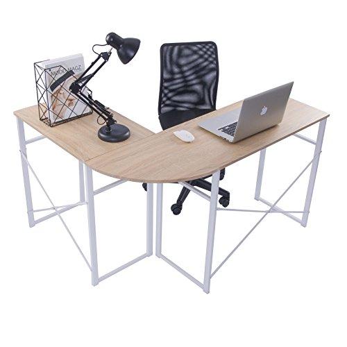 WOLTU Mesa de Escritorio en Esquina Escritorio en angulo Computadora Escritorio en la Oficina Encimera de Trabajo de Madera y Acero, 83x40x72,5 y 63x40x72,5cm (WxDxH), Madera, Madera, Roble TSG24hei