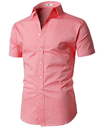 ffc95a1e94247 Galleon - H2H Mens Slim Fit Button Down Shirt For All Seasons Salmon US M  Asia L (KMTSTS0132)