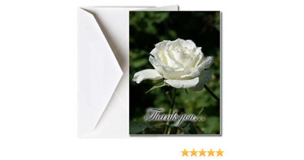 Funeral Template Memorial Thank You Card  Funeral White Rose Gold Funeral Thank You Card White Rose Floral Funeral Thank You Cards A107