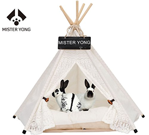Yongs Pet Cat Dog Rabbit Teepee Cushion,Portable Puppy Small Animals Bed Tent (20 X 24 Inch) by Yongs (Image #8)