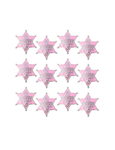(Cowgirl Sheriff Badge, Accessories for Girls and Women - 12 pack - Party Favors, Halloween Costume,)